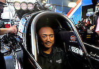 Oct 6, 2013; Mohnton, PA, USA; NHRA top fuel dragster driver Antron Brown during the Auto Plus Nationals at Maple Grove Raceway. Mandatory Credit: Mark J. Rebilas-