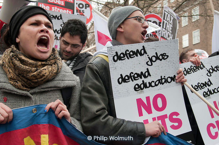 Students demonstrate in London against tuition fees and cuts in Educational Maintenance Allowance.