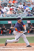 Houston Astros left fielder Trevor Crowe (8) at bat against the Miami Marlins during a spring training game at the Roger Dean Complex in Jupiter, Florida on March 12, 2013. Houston defeated Miami 9-4. (Stacy Jo Grant/Four Seam Images)........