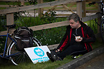 A supporter eating a snack at a Brexit Party event in Chester, Cheshire where the new party's leader Nigel Farage gave the main address. Mr Farage was joined on the platform by his party colleague Ann Widdecombe, the former Conservative government minister. And other prominent party members. The event was attended by around 300 people and was one of the first since the formation of the Brexit Party by Nigel Farage in Spring 2019.