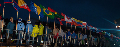 Flags on the catwalk during the opening ceremony from behind