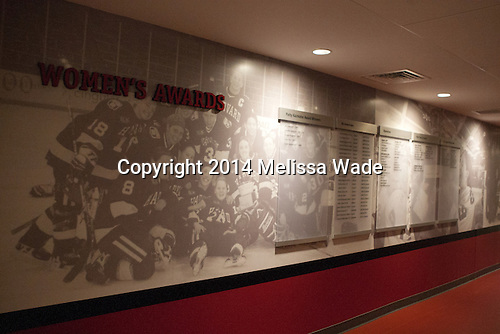 Hallway towards women's locker room. - Harvard University celebrated the official opening of the newly renovated Bright-Landry Hockey Center on Saturday, November 1, 2014,  in Cambridge, Massachusetts.