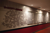 Hallway towards women's locker room. - Harvard University celebrated the official opening of the newly renovated Bright-Landry Hockey Center on Saturday, November 1, 2014,  in Cambridge, Massachusetts.