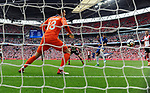 Alvaro Morata of Chelsea scores his goal to make it 2-0 past Southampton goalkeeper Alex McCarthy during the FA cup semi-final match at Wembley Stadium, London. Picture date 22nd April, 2018. Picture credit should read: Robin Parker/Sportimage