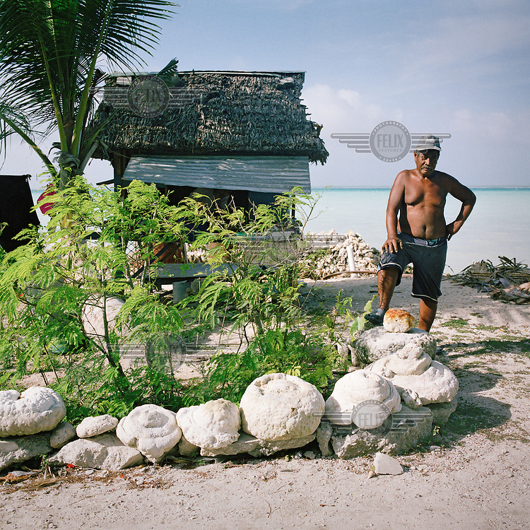 Albert Lentau's tiny home has had to be moved inland as the sea started to erode the land around it.