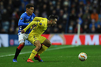 Manu Morlanes of Villarreal CF holds up the ball from James Tavernier of Rangers during Rangers vs Villarreal CF, UEFA Europa League Football at Ibrox Stadium on 29th November 2018
