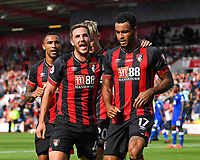 Dan Gosling of AFC Bournemouth celebrates with goalscorer Joshua King of AFC Bournemouth right during AFC Bournemouth vs Leicester City, Premier League Football at the Vitality Stadium on 15th September 2018