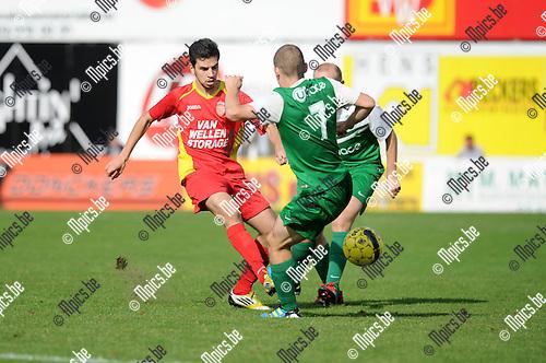 2014-09-21 / Voetbal / seizoen 2014-2015 / Kapellen - Diegem Sport / Boulaouali (l. Kapellen) met Jan De Bouw<br /><br />Foto: Mpics.be