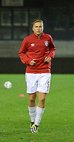 20151130 - LEUVEN ,  BELGIUM : Serbian Nikoleta Nikolic pictured during the female soccer game between the Belgian Red Flames and Serbia , the third game in the qualification for the European Championship in The Netherlands 2017  , Monday 30 November 2015 at Stadion Den Dreef  in Leuven , Belgium. PHOTO DIRK VUYLSTEKE