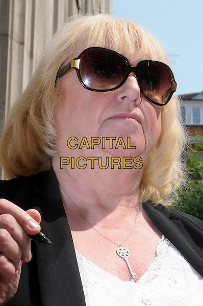 Judy Finnigan .Richard & Judy spotted in London, England..29th May 2012.headshot portrait black sunglasses shades key necklace .CAP/IA.©Ian Allis/Capital Pictures.