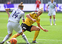 20190810 - ANDERLECHT, BELGIUM : Anderlecht's Laura Deloose pictured i a fight for the ball with LSK's Elise Thorsnes (right) during the female soccer game between the Belgian RSCA Ladies – Royal Sporting Club Anderlecht Dames  and the Norwegian LSK Kvinner Fotballklubb ladies , the second game for both teams in the Uefa Womens Champions League Qualifying round in group 8 , saturday 10 th August 2019 at the Lotto Park Stadium in Anderlecht  , Belgium  .  PHOTO SPORTPIX.BE for NTB NO | DAVID CATRY