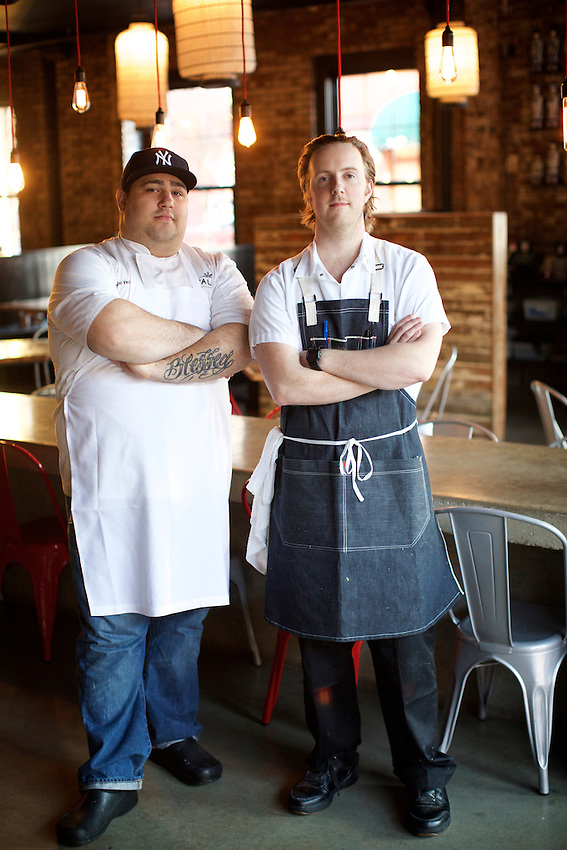 Jersey City, NJ - JANUARY 19, 2016: Corporate Chef Andrew del Vecchio and Chef de Cuisine Scott Macdonald at Talde on Erie Street, which serves chef Dale Talde's 'inauthentic' Asian-American cuisine.<br /> <br /> CREDIT: Clay Williams for Edible Jersey.<br /> <br /> &copy; Clay Williams / claywilliamsphoto.com