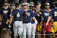 Trae Arbet (16) of the West Virginia Power is congratulated by teammates in the Home Run Derby as part of of the South Atlantic League All-Star Game festivities on Monday, June 19, 2017, at Spirit Communications Park in Columbia, South Carolina. (Tom Priddy/Four Seam Images)