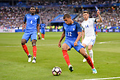 June 13th 2017, Stade de France, Paris, France; International football friendly, France versus England;  KYLIAN MBAPPE (fra) challenged by Aaron Cresswell (eng) as PAUL POGBA (fra) watches on