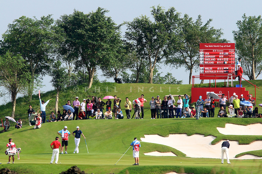 Stephen Gallacher and Martin Laird of Scotland in action during the final round of the Omega Mission Hills World Cup played at The Blackstone Course, Mission Hills Golf Club on November 27th in Haikou, Hainan Island, China.( Picture Credit / Phil Inglis )
