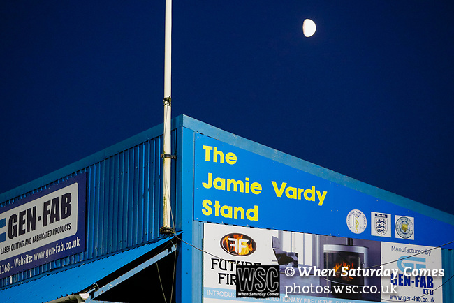 The half Moon rising over the Jamie Vardy Stand. Stocksbridge Park Steels v Pickering Town, Evo-Stik East Division, 17th November 2018. Stocksbridge Park Steels were born from the works team of the local British Steel plant that dominates the town north of Sheffield.<br />