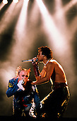 The Prodigy - vocalists Keith Flint and Maxim Reality performing live at the Go Bang Festival in Munich Germany - 22 Jun 1997.  Photo by: TOny Woolliscroft / IconicPix