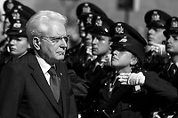 """Sergio Mattarella (President of the Italian Republic).<br /> <br /> Rome, 02/06/2019. Today, Italy celebrated the annual """"Festa Della Repubblica"""" (Republic Day, 1.). The 73rd Anniversary of the Italian Republic (*) was marked with the """"Raising the Flag Ceremony"""" and the tribute to the Sacello del Milite Ignoto (Unknown Soldier) at the Altare della Patria """"Vittoriano"""" (2.) by the President of the Italian Republic Sergio Mattarella, followed by the traditional army, veterans and civilians parade along Via Dei Fori Imperiali. This year, the President of the Republic was accompanied by the Defence Minister Elisabetta Trenta, the Italian Prime Minister Giuseppe Conte, the Presidents of the two Chambers of the Parliament, Roberto Fico and Maria Elisabetta Alberti Casellati, several members of the Italian Government, political leaders, senior officers of the Armed Forces and representatives of the Civilian Organizations. At the end of the events the Frecce Tricolori, the Italian Aerobatic Team, coloured the sky over Rome with the Tricolore (Tricolour: Green, White, Red) of the Italian Flag. The theme for this year's event was inclusiveness. <br /> <br /> Footnotes and Links:<br /> (*) The Referendum was held on 2 June 1946 and it marked the decision made by the Italian people to adopt the Republic as the new institutional form for the Country. <br /> 1. http://bit.do/eT8By (ITA) & http://bit.do/eT8Bv (ENG) at https://www.difesa.it/<br /> 2. http://bit.do/eT8BG (Wikipedia)"""
