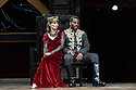 """London, UK. 22.06.2016.  Shakespeare's Globe presents """"Macbeth"""", by William Shakespeare, directed by Iqbal Khan.  Picture shows:  Tara Fitzgerald (Lady Macbeth), Ray Fearon (Macbeth). Photograph © Jane Hobson."""