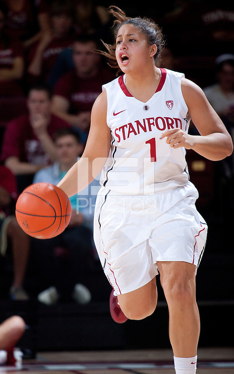 STANFORD, CA - January 22, 2011: Grace Mashore of the Stanford women's basketball team during their game against USC at Maples Pavilion. Stanford beat USC 95-51.
