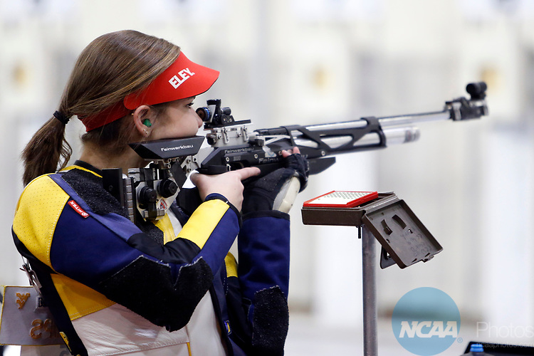 COLUMBUS, OH - MARCH 11:  Morgan Phillips, of West Virginia University, competes during the Division I Rifle Championships held at The French Field House on the Ohio State University campus on March 11, 2017 in Columbus, Ohio. Phillips finished second in the individual championship with a score of 207.2. (Photo by Jay LaPrete/NCAA Photos via Getty Images)
