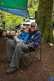 USA, Oregon, Santiam River, Brown Cannon, young boys hanging with their dads in a campground near the Santiam River in the Willamete National Forest