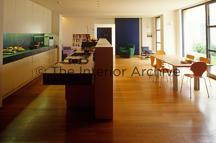 The kitchen/living area is dominated by a long free-standing island situated in the middle of the room