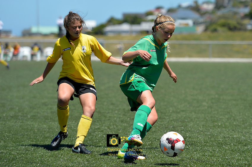 Action from the Football - National Age Group Tournament at Wakefield Park, Wellington, New Zealand on Tuesday 16  December 2014. <br /> Photo by Masanori Udagawa. <br /> www.photowellington.photoshelter.com.