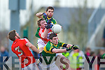 Barry Shanahan and  Paul Geaney Kerry in action against Eoin Cadogan andAndrew O'Sullivan Cork in the McGrath cup final at Mallow on Sunday.