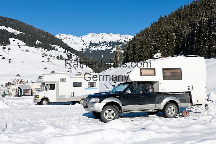 Austria, Tyrol, Ziller Valley Arena, Gerlos: popular ski resort at Gerlos Valley, winter campground | Oesterreich, Tirol, Zillertal-Arena, Gerlos: beliebter Skiort im Gerlostal, Wintercamping