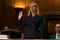 Homeland Security Secretary Kirstjen Nielsen testifies before the United States Senate Homeland Security Committee on Capitol Hill in Washington, DC on May 15, 2018. Photo Credit: Alex Edelman/CNP/AdMedia