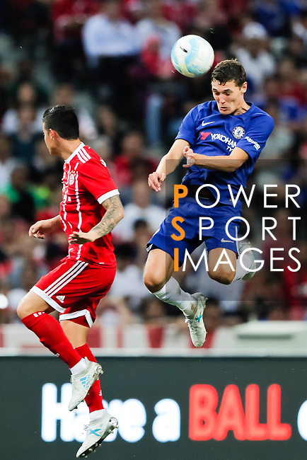 Chelsea Defender Andreas Christensen (R) heads the ball during the International Champions Cup match between Chelsea FC and FC Bayern Munich at National Stadium on July 25, 2017 in Singapore. Photo by Marcio Rodrigo Machado / Power Sport Images