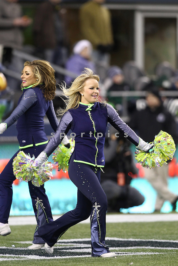 January 02, 2011:  Seattle Seahawks cheerleaders entertained the crowed through out the game against St. Louis at Quest Field in Seattle, WA.  Seattle won 16-6 over St. Louis.
