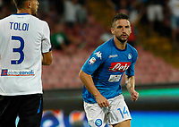 Dries Mertens celebrates after scoring during the  italian serie a soccer match,between SSC Napoli and Atalanta      at  the San  Paolo   stadium in Naples  Italy , August 27, 2017