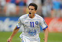 El Salvador Rodolfo Zelaya (11) celebrates his score from Penalty Kick in the 78th minute of the game.  Panama defeated El Salvador in penalty kicks 5-3 in the quaterfinals for the 2011 CONCACAF Gold Cup , at RFK Stadium, Sunday June 19, 2011.
