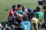 08.01.2019, Safe-Hub Diepsloot, Johannesburg, RSA, TL Werder Bremen Johannesburg Tag 06<br /> <br /> im Bild / picture shows <br /> Ilia Gruev (Werder Bremen #28) im Gespräch mit Kindern, <br /> beim Besuch des Safe-Hub Diepsloot, Johannesburg im Rahmen des Trainingslagers in Südafrika, <br /> <br /> ** Attention * ** Attention * <br /> Only to be used for the purpose of documenting the Safe-Hub visit on 08 January 2019<br /> <br /> Foto © nordphoto / Ewert