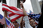 The National Day of Action immigrant rights demonstration in Los Angeles, CA on Monday, April 10, 2006.<br />