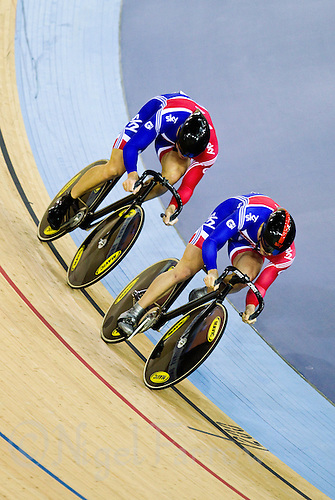 17 FEB 2012 - LONDON, GBR - Great Britain competitors make an attempt to take the Team Sprint title at the UCI Track Cycling World Cup, and London Prepares test event for the 2012 Olympic Games, in the Olympic Park Velodrome in Stratford, London, Great Britain (PHOTO (C) 2012 NIGEL FARROW)