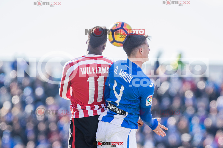 Atletic de Bilbao's Inaki Williams, Club Deportivo Leganes's Adrian Marin during the match of La Liga between Leganes and Athletic Club at Butarque Stadium  in Madrid , Spain. January  14, 2017. (ALTERPHOTOS/Rodrigo Jimenez) /NORTEPHOTO.COM