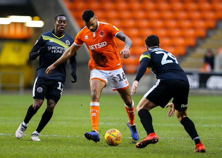 Blackpool's Curtis Tilt takes on Shrewsbury Town's Ollie Norburn and Fejiri Okenabirhie<br /> <br /> Photographer Alex Dodd/CameraSport<br /> <br /> The EFL Sky Bet League One - Blackpool v Shrewsbury Town - Saturday 19 January 2019 - Bloomfield Road - Blackpool<br /> <br /> World Copyright © 2019 CameraSport. All rights reserved. 43 Linden Ave. Countesthorpe. Leicester. England. LE8 5PG - Tel: +44 (0) 116 277 4147 - admin@camerasport.com - www.camerasport.com