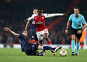 2nd November 2017, Emirates Stadium, London, England; UEFA Europa League group stage, Arsenal versus Red Star Belgrade; Vujadin Savic of Red Star Belgrade slide tackles Edward Nketiah of Arsenal