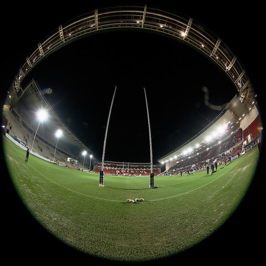 A general view of Ashton Gate, Bristol, home of Bristol RFC<br /> <br /> Photographer Simon King/CameraSport<br /> <br /> International Rugby Union - RBS Under 20's Six Nations Championships 2016 Round 4 - England U20 v Wales U20 - Friday 11th March 2016 - Ashton Gate - Bristol<br /> <br /> &copy; CameraSport - 43 Linden Ave. Countesthorpe. Leicester. England. LE8 5PG - Tel: +44 (0) 116 277 4147 - admin@camerasport.com - www.camerasport.com