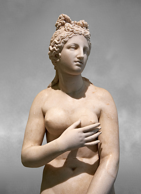 2nd century AD Roman marble sculpture of Aphrodite (Venus), 'Dresden Capitoline Type, copied from a Hellanistic Greek original,  inv 6238 Farnese Collection, Naples Museum of Archaeology, Italy