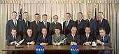 Official portrait of the seven original Mercury astronauts plus new members of the astronaut corps taken on February 19, 1963. Seated from left to right are: Gordon Cooper, Gus Grissom, Scott Carpenter, Wally Schirra, John Glenn, Alan Shepard, and Deke Slayton. Standing from left to right are: Edward White, James McDivitt, John Young, Elliot See, Charles Conrad, Frank Borman, Neil Armstrong, Thomas Stafford, and James Lovell.<br /> Credit: NASA via CNP