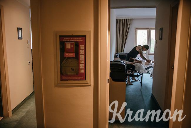 post-stage massage at the Trek-Segafredo team hotel<br /> <br /> Stage 15: Valdengo &rsaquo; Bergamo (199km)<br /> 100th Giro d'Italia 2017