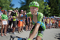 Dylan van Baarle (NLD/Cannondale-Garmin) experiencing the craziness at the Dutch Corner (nr7) up Alpe d'Huez<br /> <br /> stage 20: Modane Valfréjus - Alpe d'Huez (111km)<br /> 2015 Tour de France