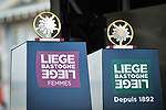 Mens and ladies winners trophies on display at the team presentation before the start of the 105th edition of Liège-Bastogne-Liège 2019, La Doyenne, running 256km from Liege to Liege, Belgium. 27th April 2019<br /> Picture: ASO/Gautier Demouveaux | Cyclefile<br /> All photos usage must carry mandatory copyright credit (© Cyclefile | ASO/Gautier Demouveaux)
