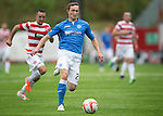 Hamilton Accies v St Johnstone...16.08.14  SPFL<br /> Chris Kane gets away from Dougie Imrie<br /> Picture by Graeme Hart.<br /> Copyright Perthshire Picture Agency<br /> Tel: 01738 623350  Mobile: 07990 594431