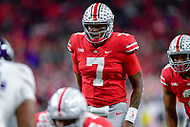 Indianapolis, IN - DEC 1, 2018: Ohio State Buckeyes quarterback Dwayne Haskins (7) during first half action of the Big Ten Championship game between Northwestern and Ohio State at Lucas Oil Stadium in Indianapolis, IN. (Photo by Phillip Peters/Media Images International)