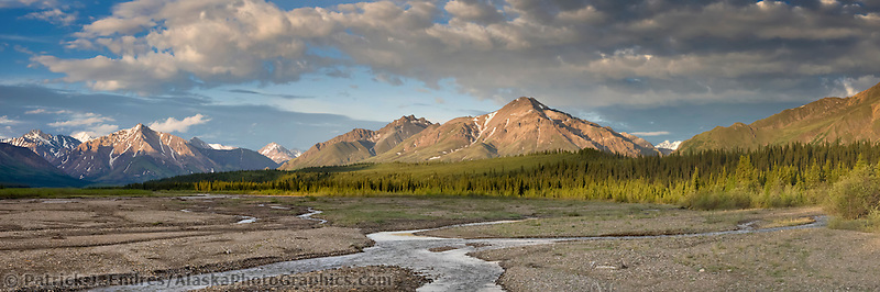 Teklanika river at sunrise, Denali National park, interior, Alaska.